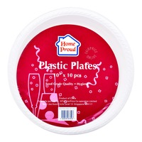 HomeProud Plastic Plates - White (25.4cm)