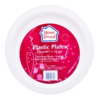 HomeProud Plastic Plates - White (23cm)