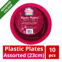 HomeProud Plastic Plates - Assorted Colour (23cm)