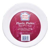 HomeProud Plastic Plates - White (18cm)