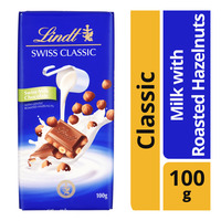 Lindt Swiss Classic Chocolate Bar - Milk with Roasted Hazelnuts