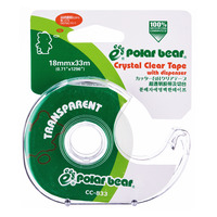 Polar Bear Tape with Dispenser - Crystal Clear (18mm)