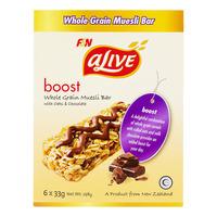 F&N aLive Boost Whole Grain Muesli Bar - Oats & Chocolate 6 x 33G