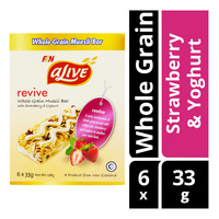 F&N aLive Revive Whole Grain Muesli Bar - Strawberry & Yoghurt 6 x 33G