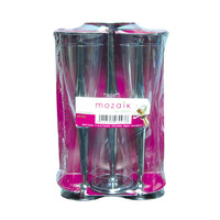 Mozaik Champagne Flutes with Silver Base