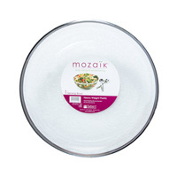 Mozaik Heavy Plastic Round Bowl with Silver Rim