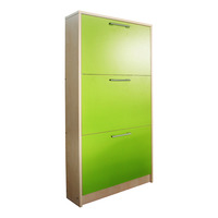 Panel Base 3 Doors Shoe Cabinet - Green