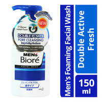 Biore Men's Instant Foaming Facial Wash - Double Active Fresh