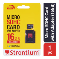 Strontium Micro SDHC Card with Adapter - 16GB