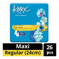 Kotex Soft & Smooth Maxi Wing Pads - Regular Flow (24cm)