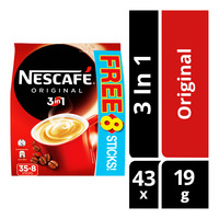 Nescafe 3 in 1 Instant Coffee - Original 35 x 19G + Free 8 x 19G