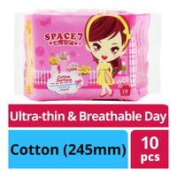 Space 7 Ultra-thin & Breathable Day Pads - Cotton (245mm)