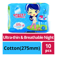 Space 7 Ultra-thin & Breathable Night Pads - Cotton(275mm)