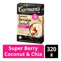 Carman's Gourmet Porridge Sachets - Super Berry Coconut & Chia