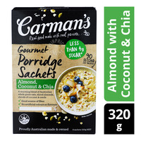 Carman's Gourmet Porridge Sachets - Almond with Coconut & Chia