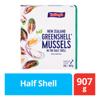 Talley's New Zealand Frozen Greenshell Mussels - Half Shell