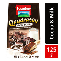 Loacker Quadraitini Bite Size Wafer Cookies - Cocoa & Milk