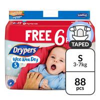 Drypers Wee Wee Dry Diapers - S (3 - 7kg) 82S + Free 6S