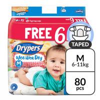 Drypers Wee Wee Dry Diapers - M (6 - 11kg) 74S + Free 6S