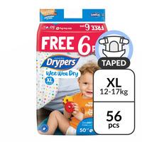 Drypers Wee Wee Dry Diapers - XL (12 - 17kg) 50S + Free 6S
