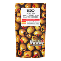 Tesco Pitted Green Olives - with Roasted Red Peppers & Herbs