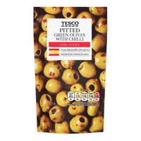 Tesco Pitted Green Olives - with Chili
