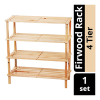 Imported Firwood Shoe Rack - 4 Tier