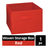 Imported Woven Storage Box - Red