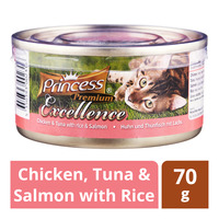 Princess Premium Can Cat Food - Chicken, Tuna & Salmon with Rice