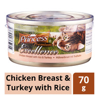Princess Premium Can Cat Food - Chicken Breast & Turkey with Rice