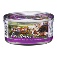 Princess Premium Can Cat Food - Chicken, Tuna, White Bait & Rice