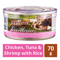 Princess Premium Can Cat Food - Chicken, Tuna & Shrimp with Rice