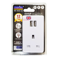 Morries 3 Way Adaptor with USB (MS 9583-2U)