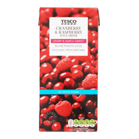 Tesco Juice Drink - Cranberry & Raspberry (No Sugar Added) 1L