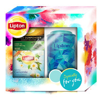 Lipton Pyramid Tea Christmas Festive Gift Pack with Canister (Blue)