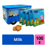 Peppa Pig School Bus Tin with Cookies - Milk