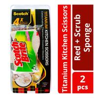 3M Scotch Titanium Kitchen Scissors - Red + Scrub Sponge