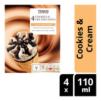 Tesco Ice Cream Cones - Cookies & Cream