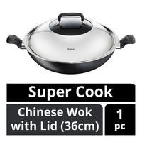 Tefal Super Cook Chinese Wok with Lid - 36cm