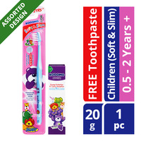 Kodomo Children Toothbrush + Toothpaste - Soft & Slim (0.5-2 years)