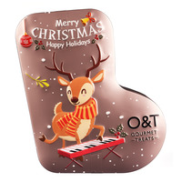 O&T Santa Socks Lemon Cookies - Light Brown