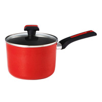Meyer Forge Red Nonstick Saucepan with Glass Lid - 18cm