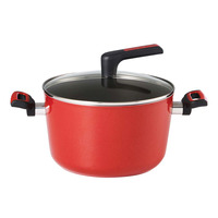 Meyer Forge Red Nonstick Stockpot with Glass Lid - 24cm