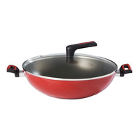 Meyer Forge Red Nonstick Chinese Wok with Glass Lid - 35cm