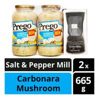 Prego Pasta Sauce - Carbonara Mushroom + Salt & Pepper Mill