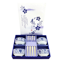 Imported Bowl & Chopstick Set - Qing Hua