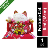 Imported CNY Fortune Cat Decoration - Red (18cm)