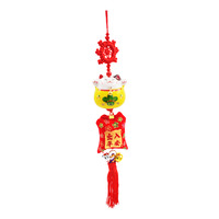 Imported CNY Fortune Cat Hanging Ornament - Yellow