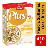 Uncle Tobys Plus Cereal - Peach, Sultanas + Oat Clusters