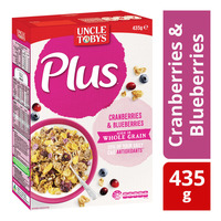 Uncle Tobys Plus Cereal - Cranberries & Blueberries